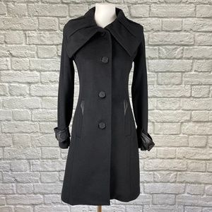 Badgley Mischka Black Wool Leather Trim Pea Coat